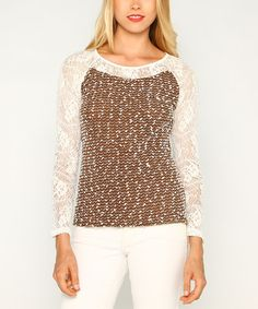 Love this Cocoa & Cream Lace-Sleeve Sweater on #zulily! #zulilyfinds