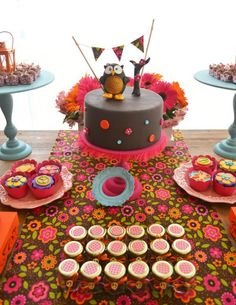 Hippie Bohemian OWL themed birthday party via Kara's Party Ideas KarasPartyIdeas.com
