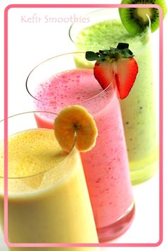 Kefir Smoothie  Makes 2 servings  Ingredients:  Frozen or Fresh Fruit (1 cup) Use mangoes, banana, peaches, blueberries, strawberries, kiwi or oranges.  Kefir – 1cup (8 oz.)  Honey or raw sugar – 2 tsp.  Flax oil – 2 tsp. (optional)  Whey protein powder – 2 tsp.  Method:  Blend all ingredients together till smooth