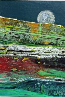 Contemporary Abstract Landscape Painting- Mixed Media & Collage by Cristina Del sol