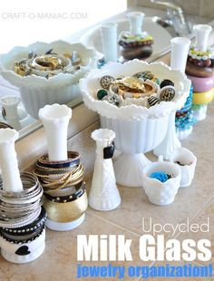 milk glass jewelry, craft art, glass jewelri, craft supply organization, craft supplies