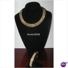 Weiss Necklace Bracelet Set Vintage Jewelry Yellow Rhinestones
