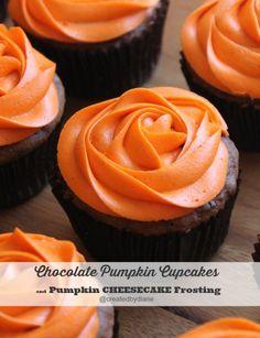 Chocolate Pumpkin Cupcakes and Pumpkin Cheesecake Frosting @createdbydiane