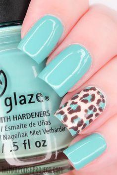 cheetah nail, color, blue, china glaze, cheetah print, nail designs, nail arts, leopard nails, leopard prints