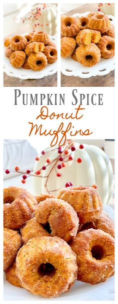 Baked Pumpkin Spice Donut Muffins - 2 Bees in a Pod #donuts #pumpkinspicedonut #pumpkinspice #fallfood #muffins #donutholes #bakedtreats #bakeddonuts #2beeshome