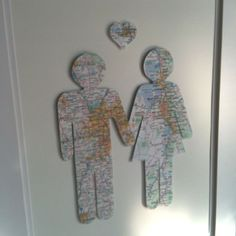 For my Hubby for Valentines. It is made out of road maps. Him~ Where he was born Me~ Where I was born Heart~ City where we met