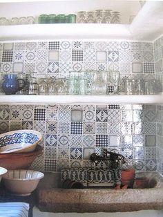 tiles back splashes, mothers day, photo tiles, kitchen backsplash, blue kitchens, sink, open shelving, carriage house, kitchen tiles