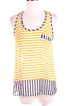 Yellow & Navy Stripe Top
