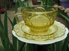 Vintage Yellow Rose Depression Glass  by PatchWorkDragonShop, $15.00