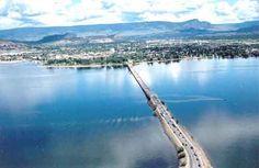 Kelowna, BC.  Bridge from West Kelowna to Kelowna on left is downtown Kelowna on right is Kelowna South