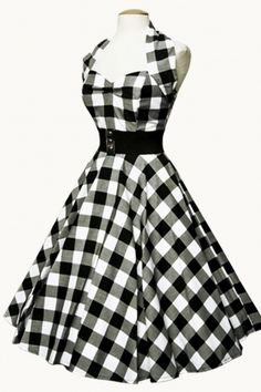 Lovely black and white checked swing dress from Top Vintage.
