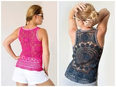 20 Lovely DIY Fashion Ideas - Tanks with upcycled vintage crochet doily back