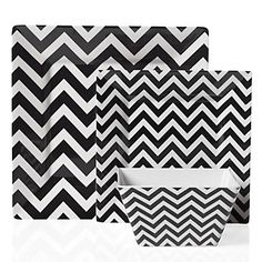 Bold Black and White Zig Zag Dinnerware, $27.80 #chevron #Black #White #ZGallerie