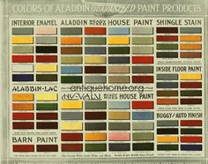 Historic Bungalow Colors::Vintage Palette::1910 to 1920    Source: Aladdin Homecraft Marketplace, antiquehome.org. 1916 Historic Bungalow Colors and Suggestions for Color Schemes for Homes circa 1910 > 1920.    Close ups of the paint chips available in the links in the notes.    This company marketed Kit Houses by catalog. Kit Homes were houses that were pre-cut like a jigsaw puzzle. You would order it by mail and it would arrive by boxcar.    Color Scheme Collection  I've collected images of the exte...
