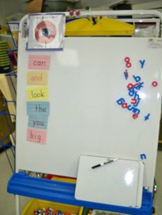 sight word spell center....I like they have to write the word after making it with letters
