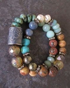 Sugar Skull Stretch TWO BRACELET SET - Skull Trio - sterling silver luxe bohemian turquoise earthy Day of the Dead Halloween stack boho