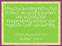 Teach students to monitor their OWN learning