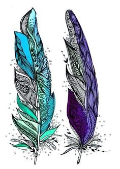 tattoo ideas, color tattoos, feather art, blue, a tattoo, feathers, sister tattoos, friend tattoos, feather tattoos