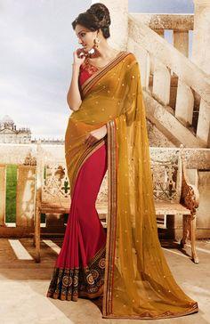 Scintillating Scarlet Red and Marigold Saree