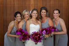 Love the grey dresses combined with the deep purple bouquets - photos by Catherine Hall Studios | junebugweddings.com