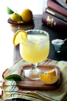"""Lemon Margarita: 1 1/2 oz. fresh Lemon Juice 1 1/2 oz. Tequila 1 oz. Triple Sec (or Cointreau if you want to go """"top-shelf"""") sea salt for rimming glass Rub the rim of an old fashioned glass (or whatever similar vessel you prefer) with a meyer lemon slice.  Swirl the rim through a small pile of kosher or sea salt to salt the rim. Put the meyer lemon juice, tequila, and triple sec in a cocktail shaker, add ice and shake for 15 seconds. Put a few cubes of ice in your glass.  Strain the cocktail ..."""