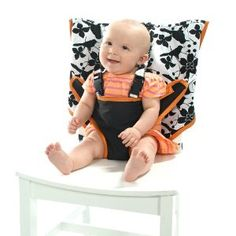 This traveling baby seat is brilliant! It just slips over the back of a chair so you could sit your baby anywhere!