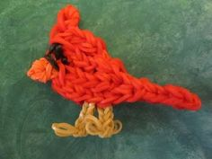 Rainbow Loom Bird Charm: CARDINAL. Designed and loomed by Jaclyn Lecaros at Lovely Lovebird Designs. Click photo for YouTube tutorial. 05/05/14.