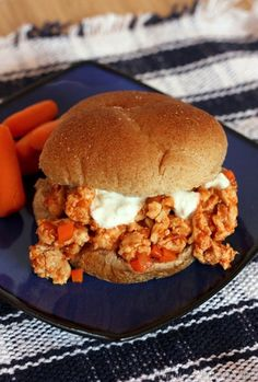 Buffalo Chicken Sloppy Joes - get your spicy Buffalo kick in a healthier and fun way that even the kids will love... chicken breasts, kale chips, ground chicken, chicken sloppi, spici buffalo, yummi food, sloppi joe, hot sauces, buffalo chicken
