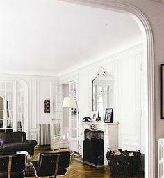 interior design, modern classic, living rooms, floor, arch, paris apartments, white walls, door, black furniture