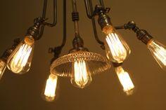 lights, industri chandeli, steampunk mansion, chandeli project, chandeliers