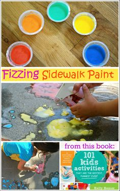 Fizzing Sidewalk Paint from 100 Kids Activities - See how simple it is to create sidewalk paint that bubbles and fizzes.