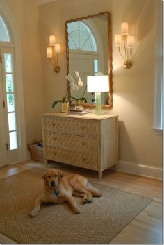 Love this wall color with the white trim ~ Pale Almond Benjamin Moore