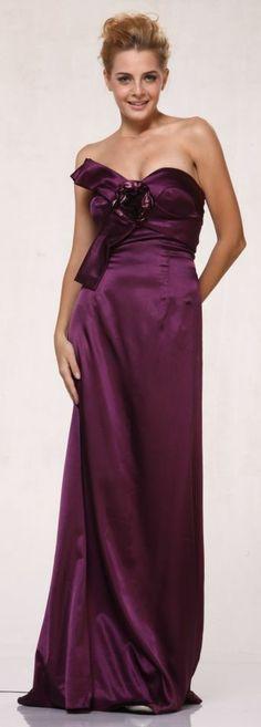 Plus Size Eggplant Dress Full Length Strapless Flower Bodice Satin Gown $69.99