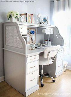 Stenciled Desk via The Thinking Closet   Scallops Allover Stencil by Royal Design Studio