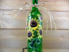 Sunflower Lighted Wine Bottle Green Hand Painted 750 ml