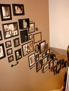 Caro's Thrifty Adventures: Picture Frames on staircase wall