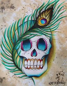 peacock feather and skull tattoo flash art 8x10 painting. $25.00, via Etsy.