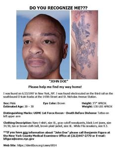 DO YOU RECOGNIZE ME?    FOUND JUNE 23,1997 NEW YORK CITY,NY on TRAIN TRACKS had been ELECTROCUTED .THIS MAN IS SOMEONES SON,Brother Husband .Please help GET THIS INFORMATION OUT THERE ANY WAY POSSIBLE AND HELP THIS MAN FIND HIS WAY HOME.