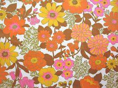 Vintage Flower Power Fabric