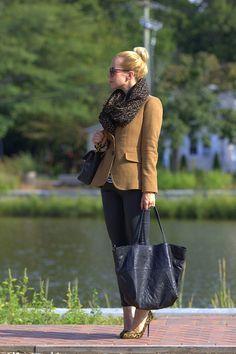 tan blazer & leopard scarf