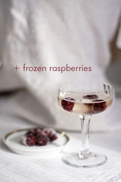 champagne & frozen raspberries
