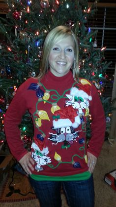 DIY Ugly Christmas Sweater.  Cat Sweater