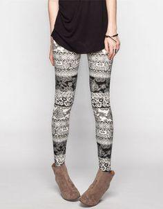 FULL TILT Lace Print Womens Leggings