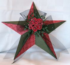 Close To My Heart - Christmas Star by Alyson Paper: Pear and Partridge Paper Pack Stamps: None Inks: New England Ivy Accessories: Artiste Cartridge, Art Philosophy Cartridge, My Creations Star, Black Tulle Ribbon, Baker's Twine - Harvest Assortment, Bitty Sparkles, Adhesive Springs, Quilling Tool