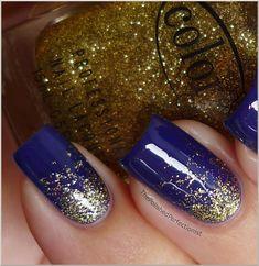 gold nails, color combos, china glaze, nail art designs, nail arts, glitter nails, color club, blues, blue nails
