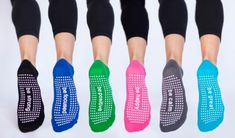 Happy barre socks with positive messages on them.