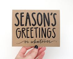 Hand lettered + witty kraft holiday card, $3.75. #cydconverse