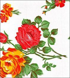 White Rose n Grid Oilcloth