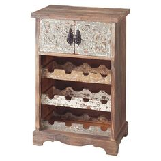 Bring a rustic touch to your kitchen or home bar with this country-chic wine rack, showcasing 2 doors with scrolling motifs and a distressed finish. Holds up...