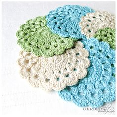 "Crochet Coasters/Doilies of summer color Set of 6 - turquoise green beige color - cotton 4"" 10cm. $18.99, via Etsy. cotton, turquoise, turquois green, crochet coastersdoili, green beig, vintage crochet, color set, beig color, summer colors"